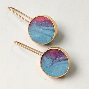 Brass and Unicorn Resin Earrings