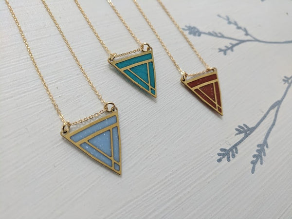 Triangle Shield Brass Resin Pendant