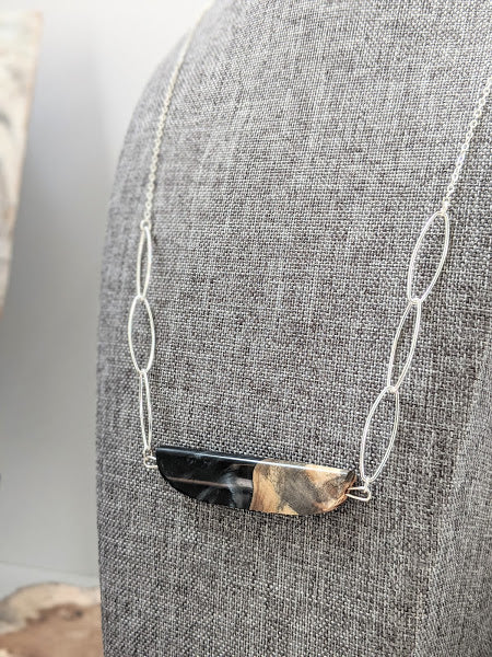 Midnight Horizon Sterling Silver Chain Wood and Resin Necklace