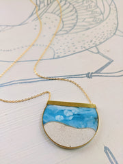 White Sandy Beach Brass, Resin, and Concrete Necklace