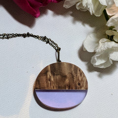 Mauve Wood and Resin Necklace