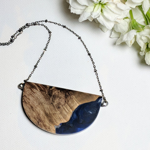 Natural Wood and Blue Resin Semi Circular Necklace