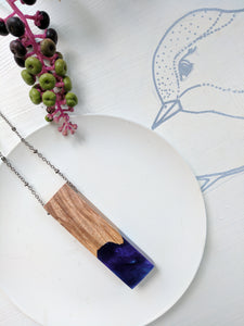 Midnight Blue and Purple Wood and Resin Necklace