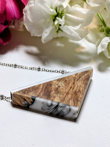 Wood and Marbled Resin Triangle with Silvered Bar