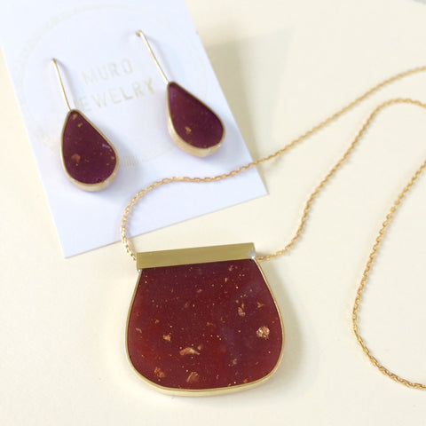 Burgundy deep red resin necklace and earrings