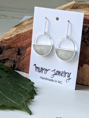 Sterling Silver Half Moon Dangle Earrings