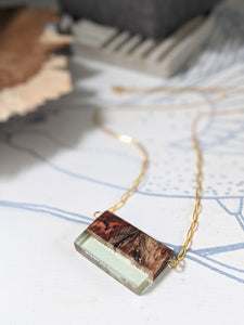 Horizontal Wood and Resin Brass Necklace