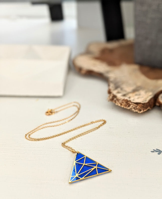 Cobalt Art Deco Resin and Brass Necklace