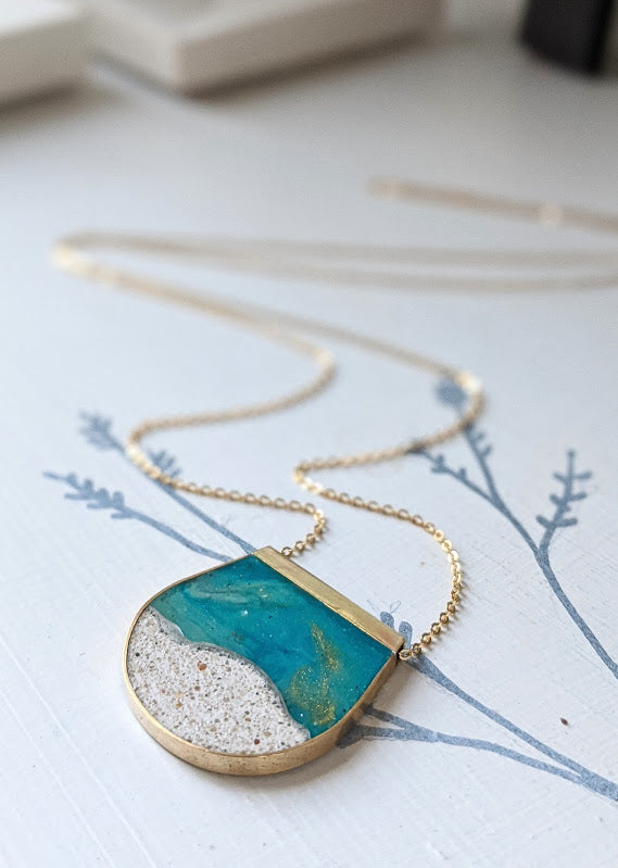 Mermaid Ocean Resin, Sand, and Brass Necklace