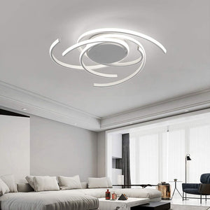 LED Bedroom Light Modern Chic Design Flush Mount Ceiling Lamp Dimmable Acrylic Panel Unique Minimalist Livingroom Pendant Light with Remote Control Dining Room Kitchen Island Office Hanging (White)