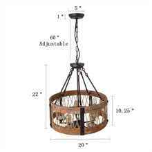Load image into Gallery viewer, Round Wooden Chandelier with Clear Glass Shade Rope and Metal Pendant Five Decorative Lighting Fixture Retro Rustic Antique Ceiling Lamp, C0003 Brown