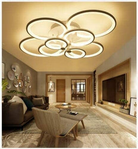 Modern LED Ceiling Lights Acrylic Circle Ring Chandelier Lighting Flush Mount LED Ceiling Light Fixture Lamp w/Remote Control for Dining Room Bathroom Bedroom Livingroom Decor (8 Head)