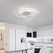 Load image into Gallery viewer, LED Bedroom Light Modern Chic Design Flush Mount Ceiling Lamp Dimmable Acrylic Panel Unique Minimalist Livingroom Pendant Light with Remote Control Dining Room Kitchen Island Office Hanging (White)