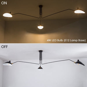 Lamps for Living Room - Large Ceiling Light Fixture Room Lights LED Hanging Lights Iron Pendant Lighting Adjustable Lampshade 3 Arms Chandeliers for Dining Rooms Bedroom Metal Matte Black