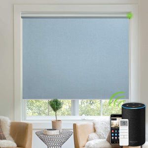 Motorized Blinds Blackout Fabric Automatic Shades Remote Control Cordless Room Darkening Window Blinds (Dark Grey)