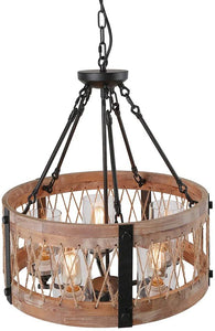Round Wooden Chandelier with Clear Glass Shade Rope and Metal Pendant Five Decorative Lighting Fixture Retro Rustic Antique Ceiling Lamp, C0003 Brown