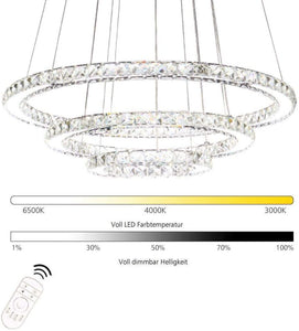 "K9 Really Crystal Dimmable LED Lighting Rings Chandelier Ceiling Lamp Fixtures Modern Pendant Light, 3000-6500 Kelvin.D7.8""+11.8""+15.7""."
