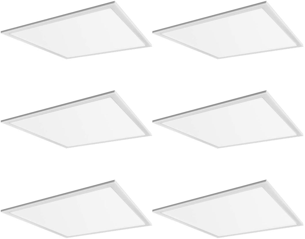 2x2 FT White LED Flat Panel Troffer Light, 40W 4000K Recessed Edge-Lit Drop Ceiling Light, 4200lm Lay in Fixture for Office, 0-10V Dimmable, 3-Lamp F17T8 Fixture Replacement, 6 Pack