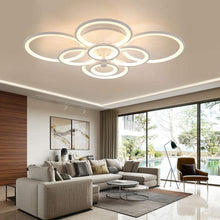Load image into Gallery viewer, Modern LED Ceiling Lights Acrylic Circle Ring Chandelier Lighting Flush Mount LED Ceiling Light Fixture Lamp w/Remote Control for Dining Room Bathroom Bedroom Livingroom Decor (8 Head)