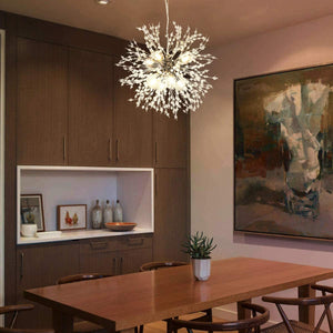 Firework Chandeliers,LED Crystal Modern Pendant Lighting with 8 Lights,Stanless Steel Ceiling Light Fixtures Pendant Lamp for Living Room Bedroon Restaurant, Dia15.7 inch,Chrome