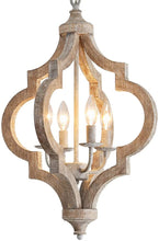 "Load image into Gallery viewer, Antique Wood and Metal Chandelier Ceiling Pendant Light 4 Candle Holder Lights Retro Vintage Industrial Rustic Hanging Ceiling Lamp Light Fixture for Home decor-D16""x H23.9"""