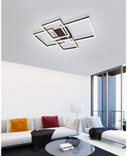 Load image into Gallery viewer, Modern Ceiling Light,112W LED Chandelier Flush Mount Ceiling Light,2+2 Squares Acrylic Ceiling Lamp Fixture for Living Room Dining Room Bedroom,Cool White 6000K