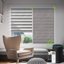 Load image into Gallery viewer, Motorized Zebra Shades Free-Stop Cordless Zebra Blinds Rechargeable Dual Layer Sheer with Cassette Valance Window Blinds (Pure White)
