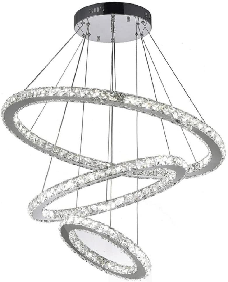 K9 Really Crystal Dimmable LED Lighting Rings Chandelier Ceiling Lamp Fixtures Modern Pendant Light, 3000-6500 Kelvin.D7.8