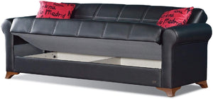Harlem Collection Modern Convertible Folding Sofa Bed with Storage Space Includes 2 Pillows, Black