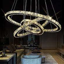 "Load image into Gallery viewer, K9 Really Crystal Dimmable LED Lighting Rings Chandelier Ceiling Lamp Fixtures Modern Pendant Light, 3000-6500 Kelvin.D15.7""+23.6""+31.4""."