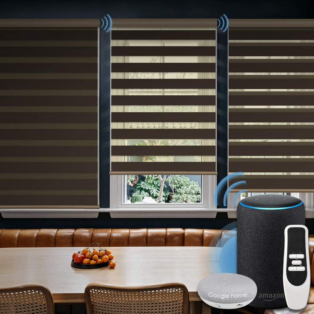Motorized Zebra Sheer Shade Compatible with Alexa Google WiFi Smart Home Hardwired Plug-in Horizontal Window Blinds Window Shades Light Filtering Window Blinds, Customized Size Coffee