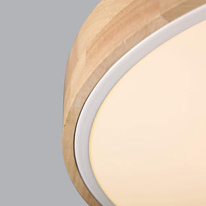 Modern Minimalist LED Drum Shaped Wood & Metal & Acrylic 1-Light Flush Mount Ceiling Light Fixture (Medium, White)