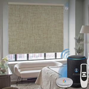 Motorized 100% Blackout Roller Shade with Alexa Google Smart Home Control Build-in Hardwired Window Shades Thermal Insulated Window Blinds, Customized Size (Jacquard White)
