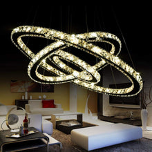 "Load image into Gallery viewer, K9 Really Crystal Dimmable LED Lighting Rings Chandelier Ceiling Lamp Fixtures Modern Pendant Light, 3000-6500 Kelvin.D7.8""+11.8""+15.7""."