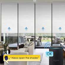 Load image into Gallery viewer, Motorized 100% Blackout Roller Shade with Alexa Google Smart Home Control Build-in Hardwired Window Shades Thermal Insulated Window Blinds, Customized Size (Jacquard White)