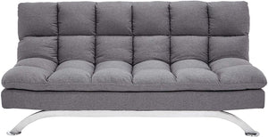 Geneva Fabric-Upholstery Futon Couch with Stainless-Steel Legs, Harbor Gray