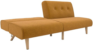 Palm Springs Convertible Sofa Sleeper in Rich Linen, Sturdy Wooden Legs and Tufted Design, Mustard Linen