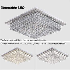 Minimalist Crystal Chandelier LED Ceiling Light Fixture 4000K Dimmable Flush Mount Ceiling Lamp Square Pendant Lamp for Dining Room, Bathroom, Bedroom, Living Room, Kitchen, Hallway