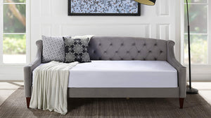 Lucy Upholstered Button Tufted Sofa Bed, Twin, Dark Navy Blue