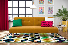 Load image into Gallery viewer, Palm Springs Convertible Sofa Sleeper in Rich Linen, Sturdy Wooden Legs and Tufted Design, Mustard Linen