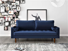 "Load image into Gallery viewer, S5458 Mid Century Modern Velvet Upholstered Tufted Living Room Sofa, 69.68"", Eggplant"
