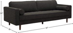 "Amazon Brand – Rivet Aiden Mid-Century Sofa with Tapered Wood Legs, 87""W, Dark Grey"