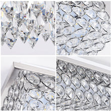 Load image into Gallery viewer, Minimalist Crystal Chandelier LED Ceiling Light Fixture 4000K Dimmable Flush Mount Ceiling Lamp Square Pendant Lamp for Dining Room, Bathroom, Bedroom, Living Room, Kitchen, Hallway
