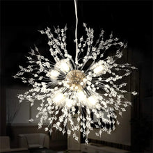 Load image into Gallery viewer, Firework Chandeliers,LED Crystal Modern Pendant Lighting with 8 Lights,Stanless Steel Ceiling Light Fixtures Pendant Lamp for Living Room Bedroon Restaurant, Dia15.7 inch,Chrome