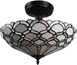"Tiffany Style Ceiling Fixture Lamp Jeweled 17"" Wide Stained Glass White Antique Vintage Light Decor Living Room Bedroom Kitchen Hallway Gift AM108CL17B"