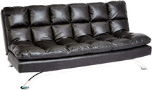 Load image into Gallery viewer, Geneva Fabric-Upholstery Futon Couch with Stainless-Steel Legs, Harbor Gray