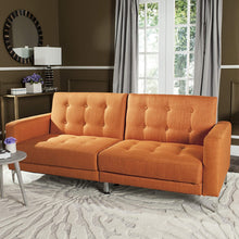 Load image into Gallery viewer, Livingston Collection Soho Orange Tufted Foldable Sofa Bed