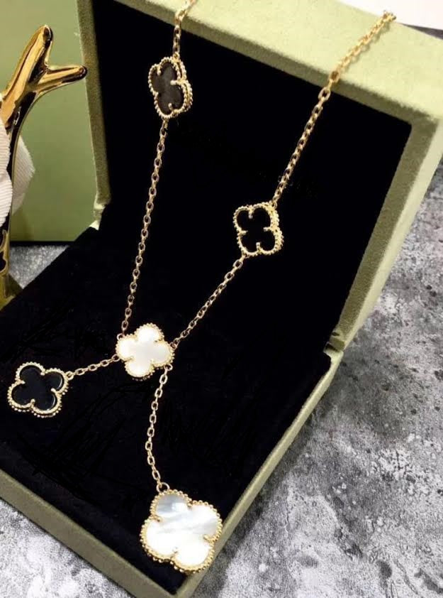 Beautiful Black and White Clover Charm Yellow Gold Necklace