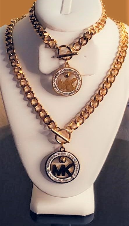 FANCY JEWELRY SET WITH LETTERS NECKLACE AND BRACELET