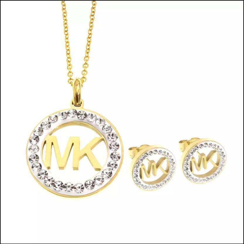 TRENDY FANCY JEWELRY SET WITH LETTERS NECKLACE AND LETTER EARRINGS